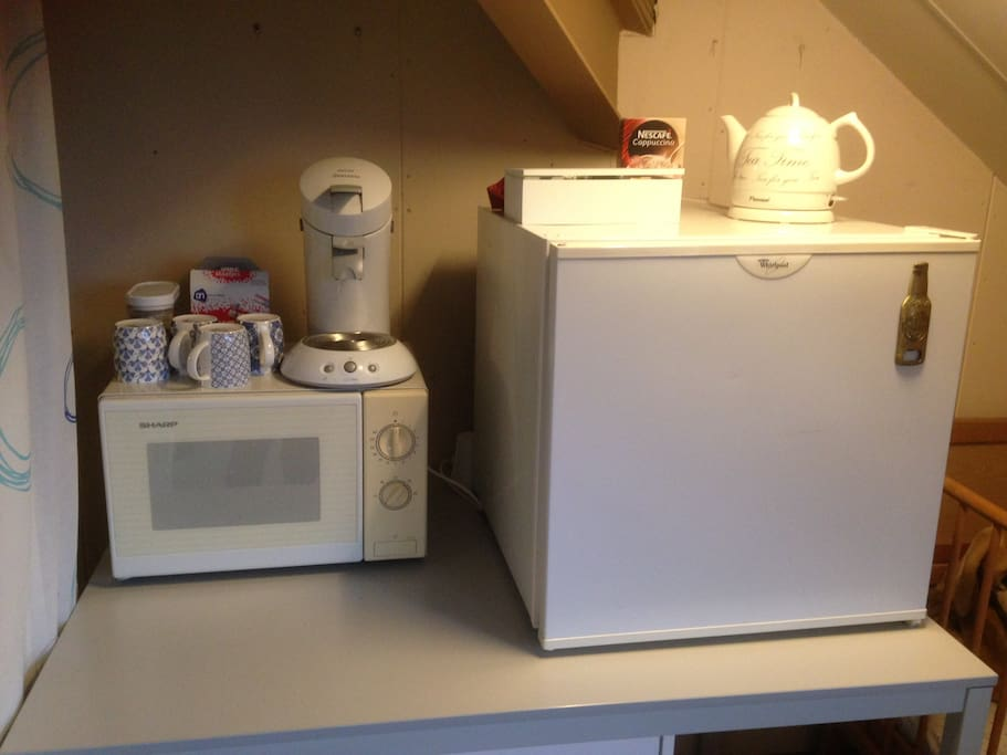 Your own fridge, coffee machine, microwave  and a kettle