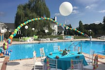 Resort Size Pool with plenty of seating for your large family or group
