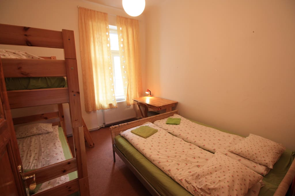YOUR BEDROOM B arranged  for 4 persons, writing desk , wardrobe