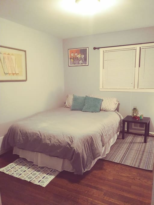 Air Mattress with added pad for comfort and good nights sleep. Window and plenty closet space.
