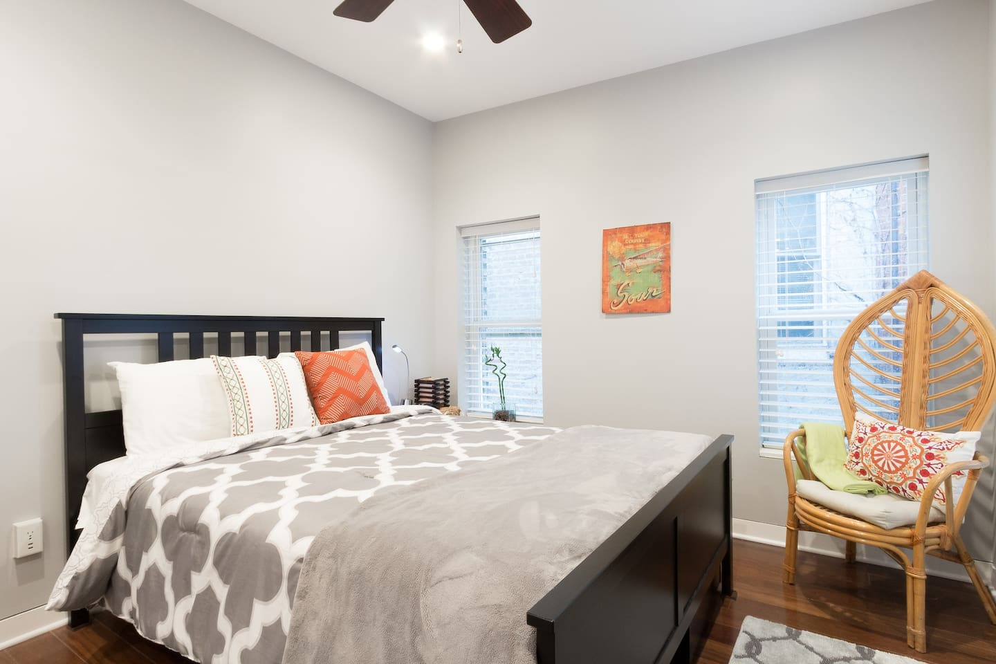 Quiet bedroom away from the entertainment and excitement at the front door