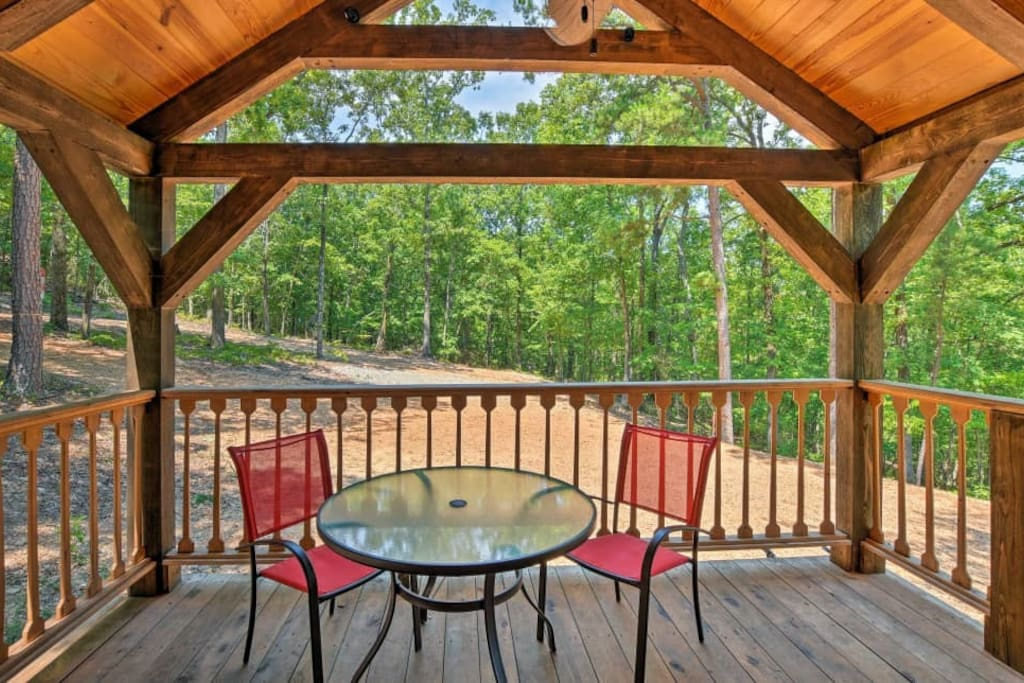 Enjoy the sounds of nature while enjoying breakfast or coffee on the covered deck.
