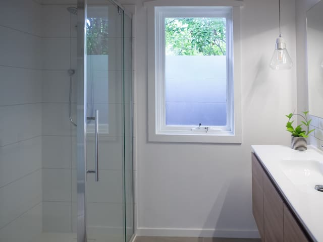 Brand new bathroom with shower and toilet