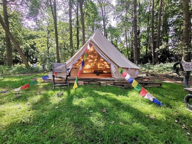 5m BYOB Bell tent at Moat Island Glamping