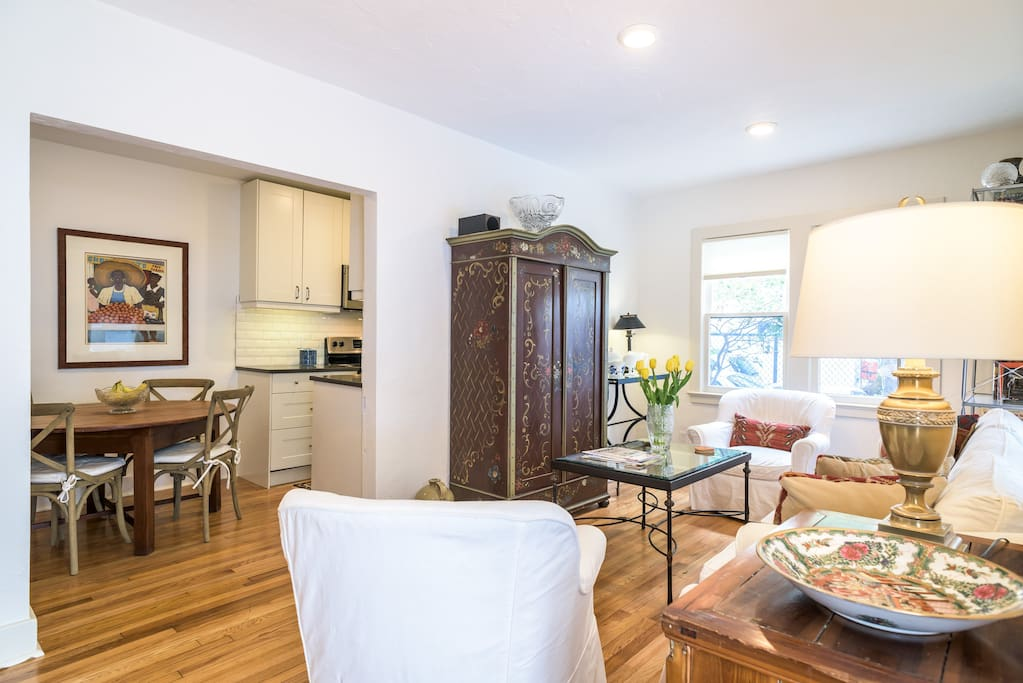 Living and Dining Rooms. Oak floors throughout.