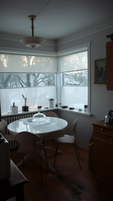 Sunlit kitchen, made for smiling times around the table with people you love. This is the exact spot where the Icelandic Dictionary was written!