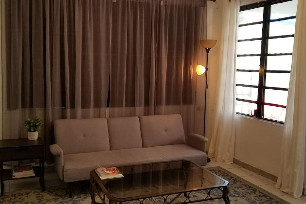 VIEW OF SITTING AREA IN MASTER ROOM. SOFA TURN INTO A SOFA BED, COMFORTABLE ENOUGH FOR ONE MORE PERSON. NICE SITTING AREA FOR YOUR LAPTOP AND WORK.