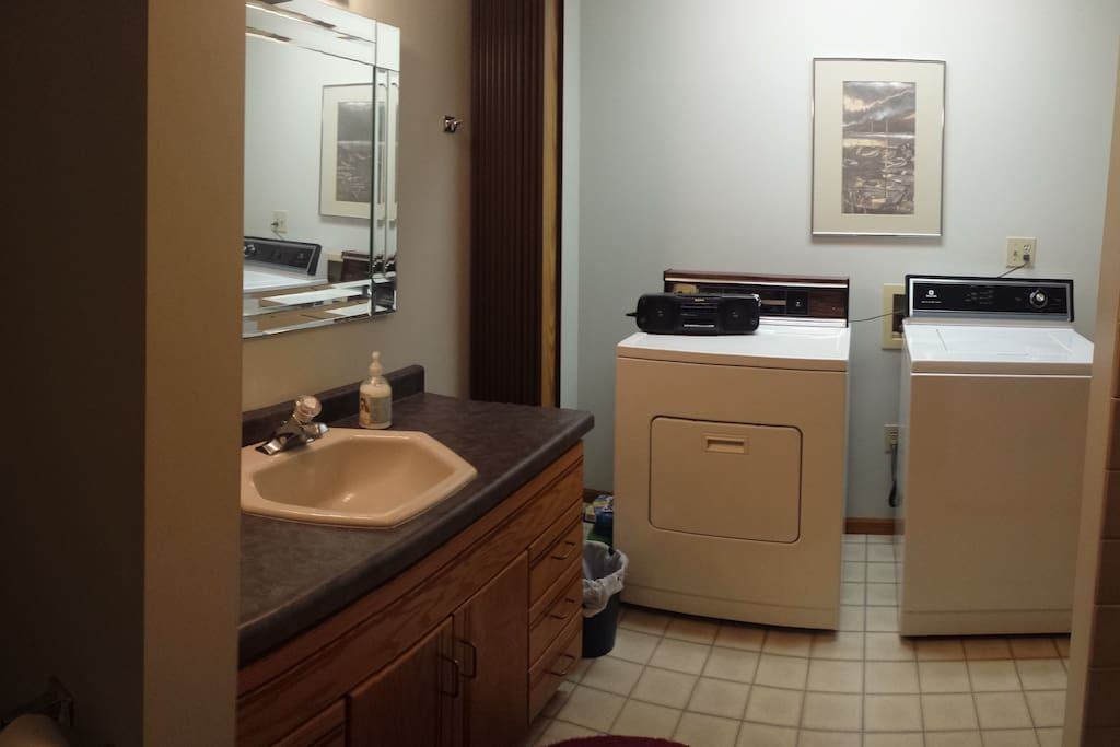 Laundry in shared bathroom.