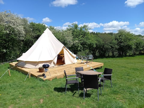 Lovely 6m Bell Tent*Peace*Private kitchen&bathroom
