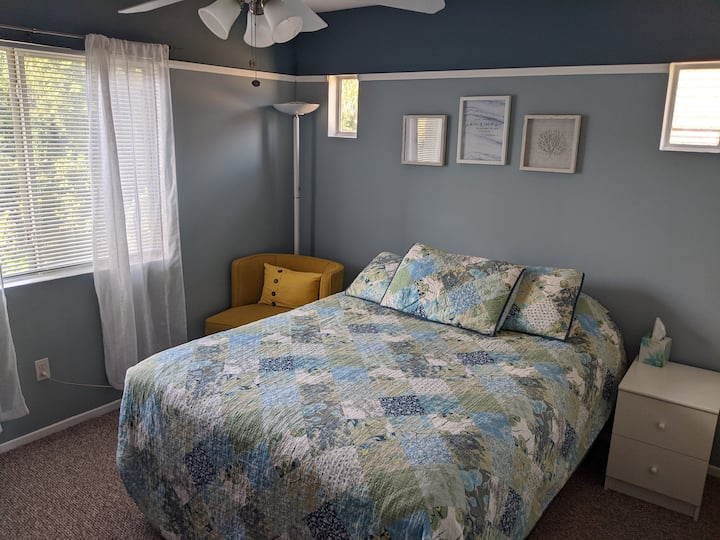 Private, clean, peaceful bedroom in updated home.