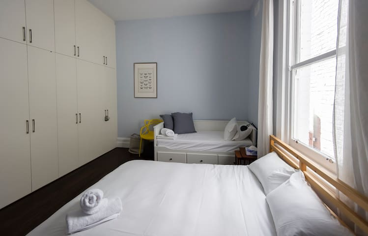 Second bedroom has Queen size bed and two singles (pull out).