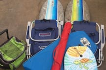 Beach gear available for you to use located in the courtyard closet.