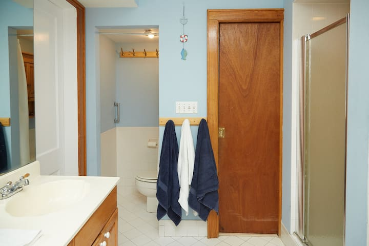LARGE SHARED BATHROOM:  Separate water closet with privacy curtain. Sliding pocket door (right) leads to hallway.