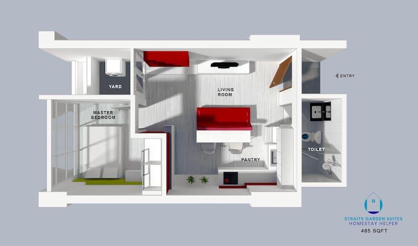 Floor Plan 485 sq ft