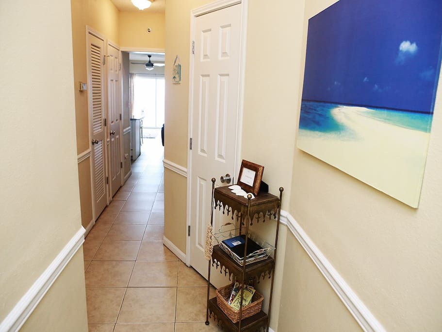 Entrance to condo with beautiful view of ocean.