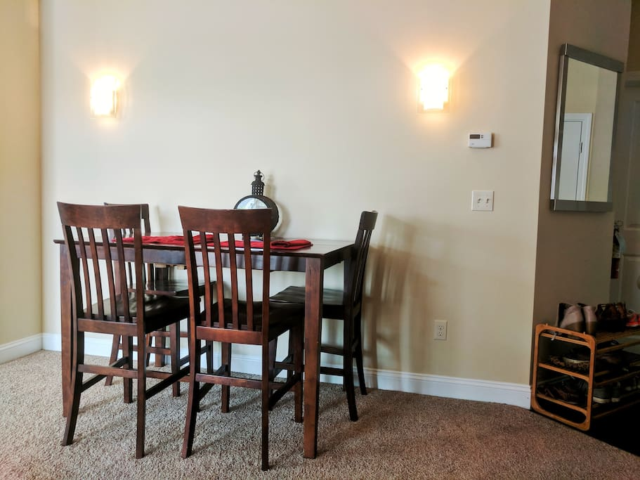 Wood table in shared dining room space