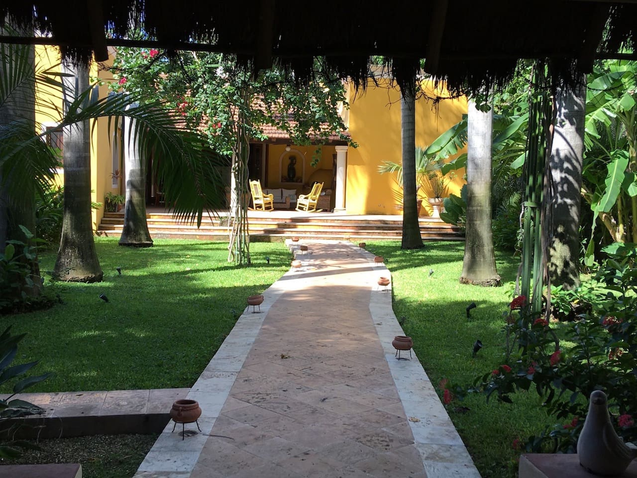 The Garden -- view from the Palapa to the main house