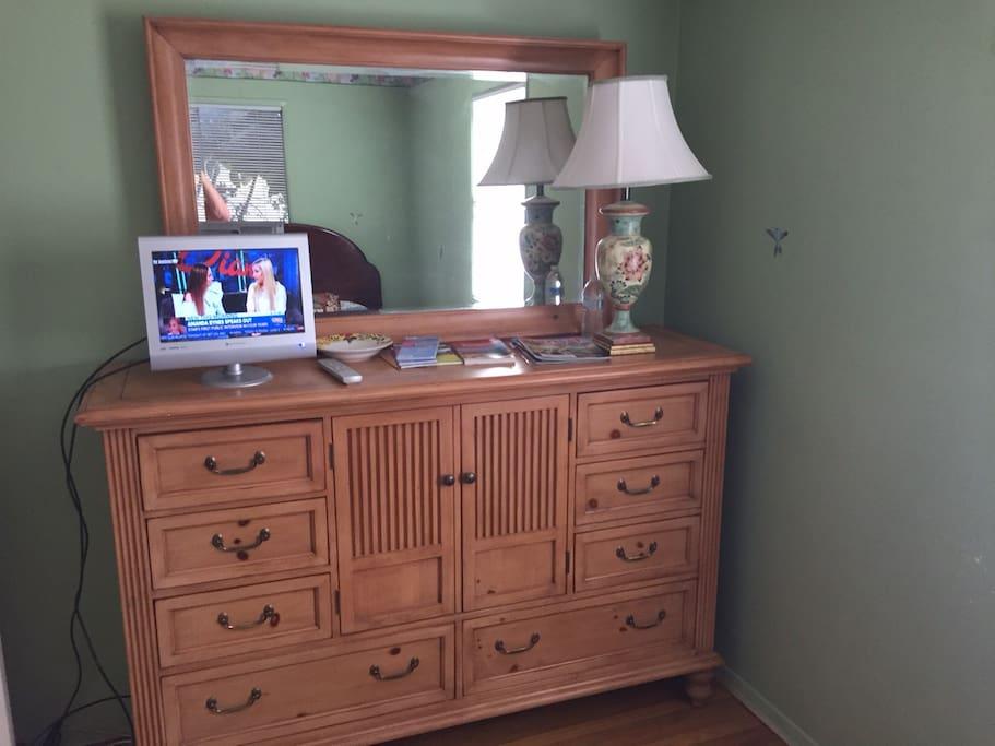 dresser with TV