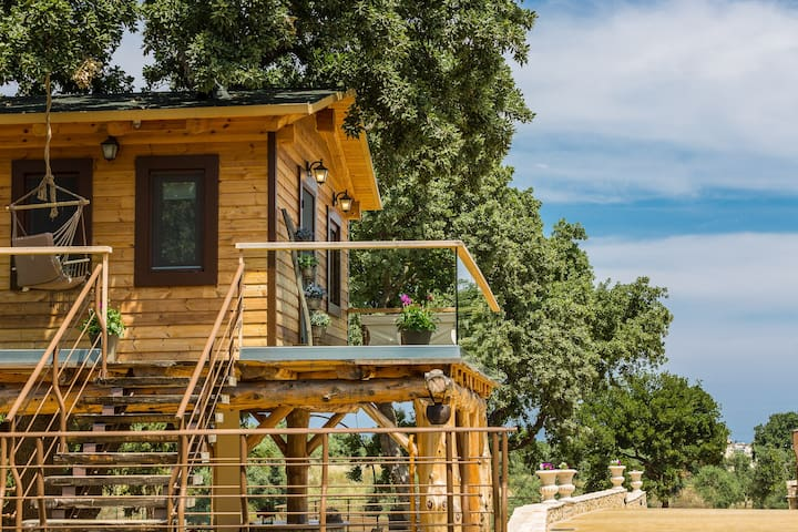The tree house is made of logs and you can access it by a staircase, wide enough for you and your luggage!