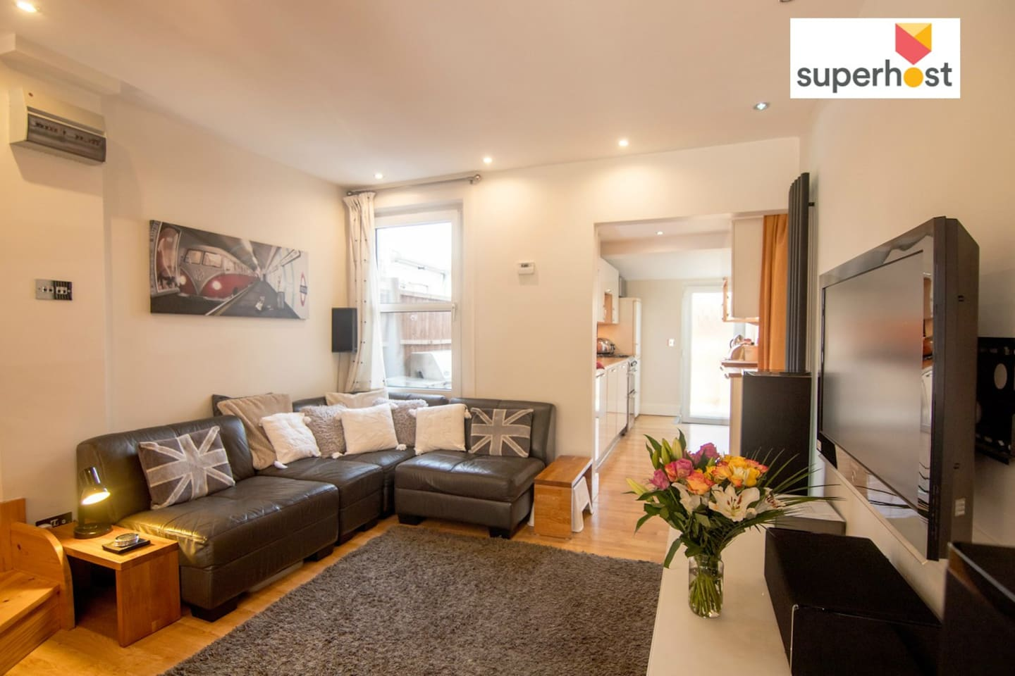 """Comfortable living room with 40"""" TV, Freesat and surround sound system"""