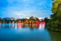 Hoan Kiem Lake is 5 min walk away