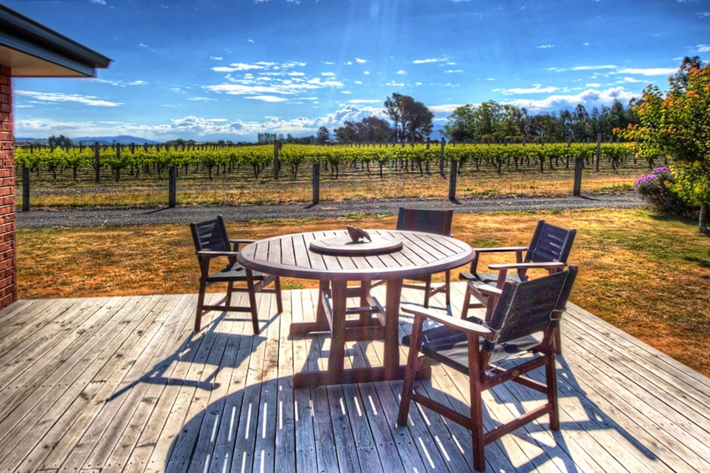 Sit on the deck with a wine and some food in the Marlborough sun.