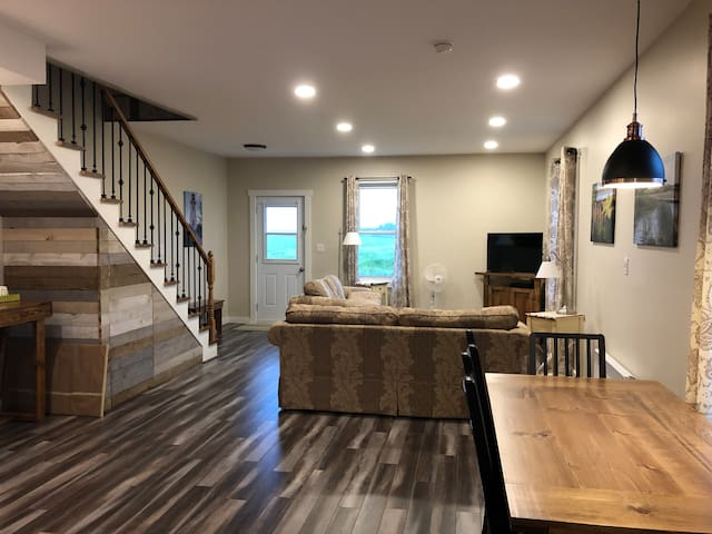 Open concept living room and kitchen with lots of space