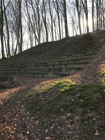 Openluchttheater uit 1920 in het aangrenzende bos.