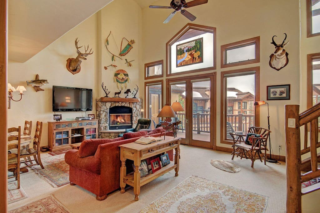 The fireplace and the beautiful stained-glass art, will make you feel right at home.