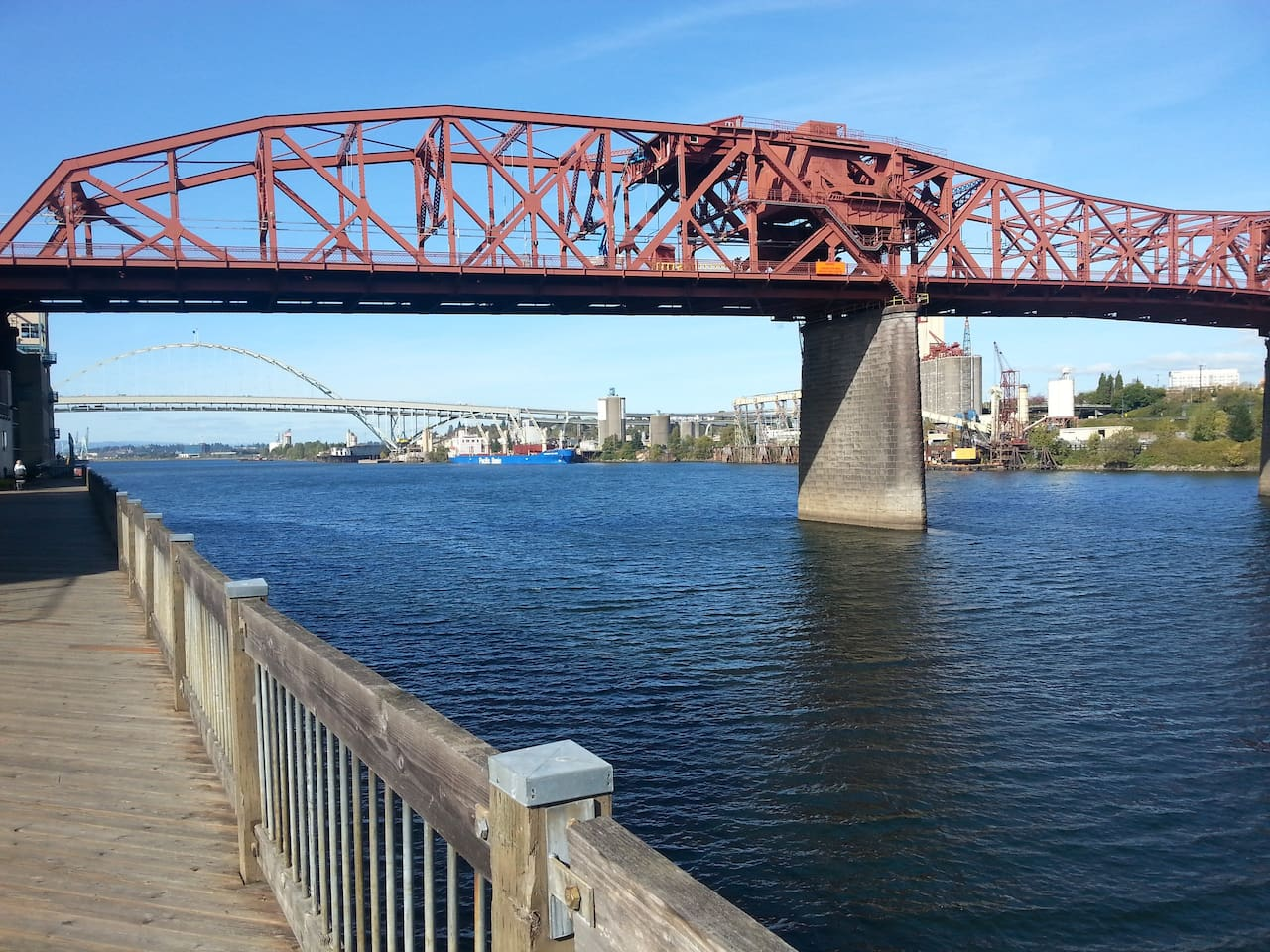 View of the Broadway Bridge from the river walk.