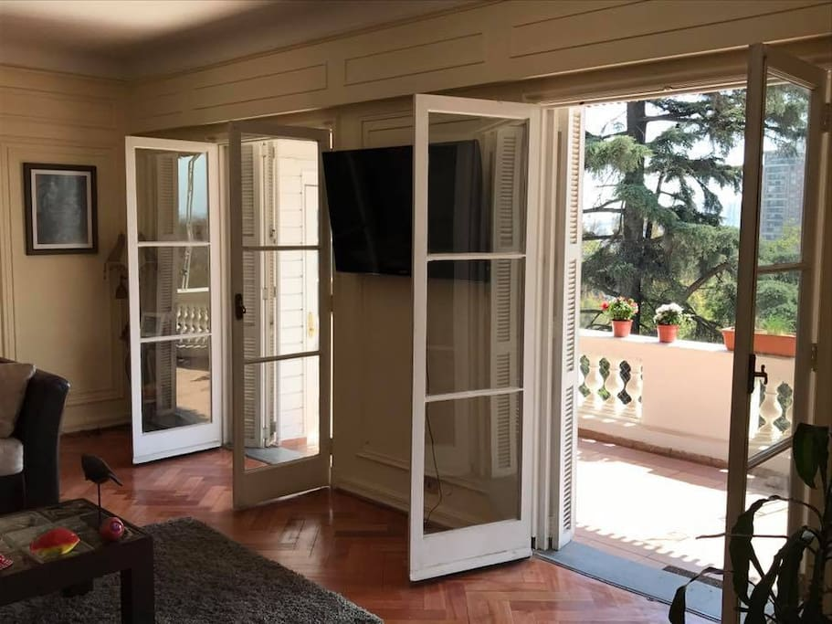 These are the French doors leading out from the living room to the terrace.