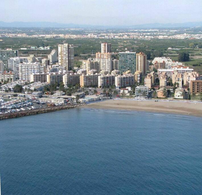 Vista aérea de la Playa de la Puebla de Farnals. Apartamento en primera línea con vistas al mar, a dos minutos andando de la playa.