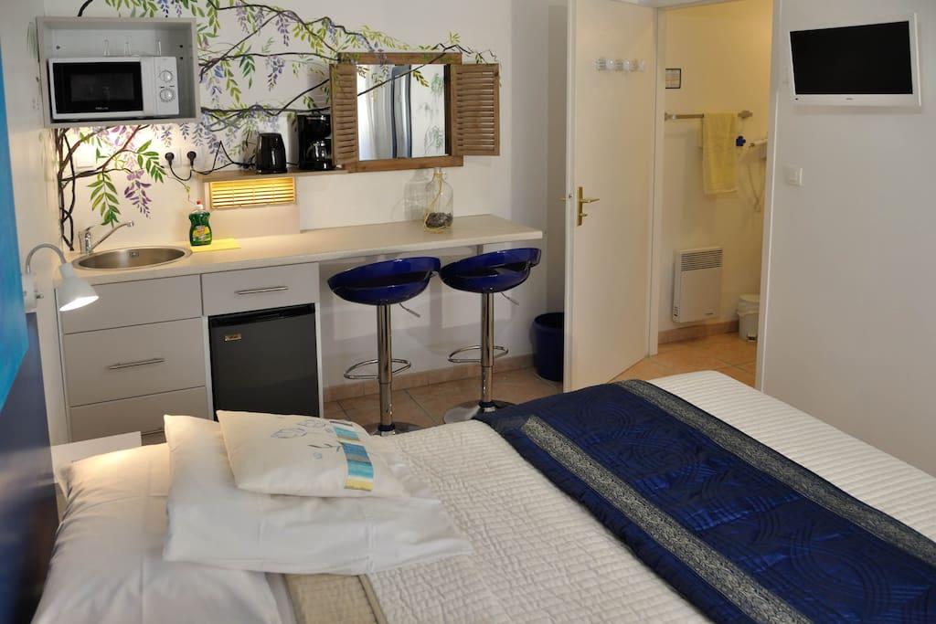Kitchenette avec évier, frigo, micro onde grill, coin repas, bouilloire et cafetière. Salle de bain avec douche, lavabo et WC.