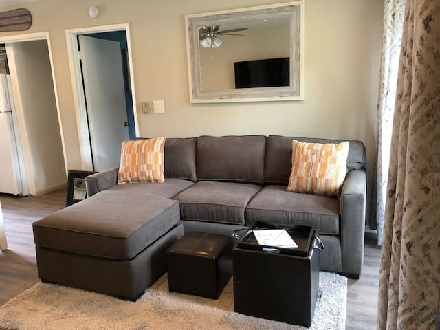 The living room features a brand new sofa sleeper with a queen memory foam mattress.