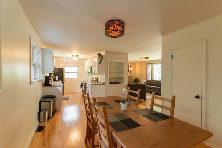 Dining room / kitchen view.  The table can be extended to entertain 6-8