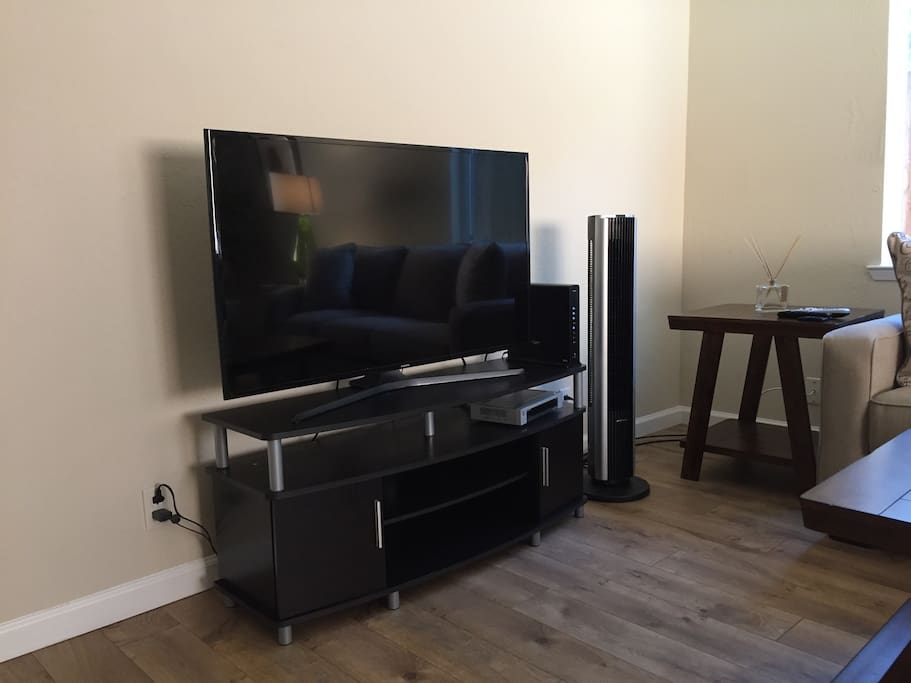 Large flat screen TV, high speed internet, Netflix, Cable TV.