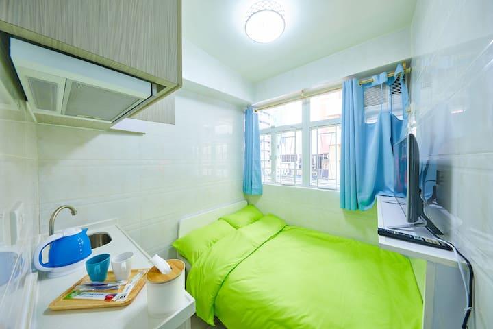 Mong Kok旺角西洋菜南街舒適寧靜2人房 D