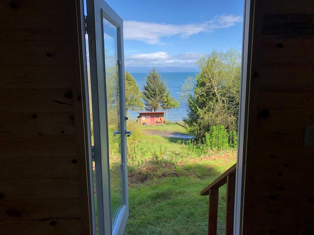 Looking out to the Strait from the front door.