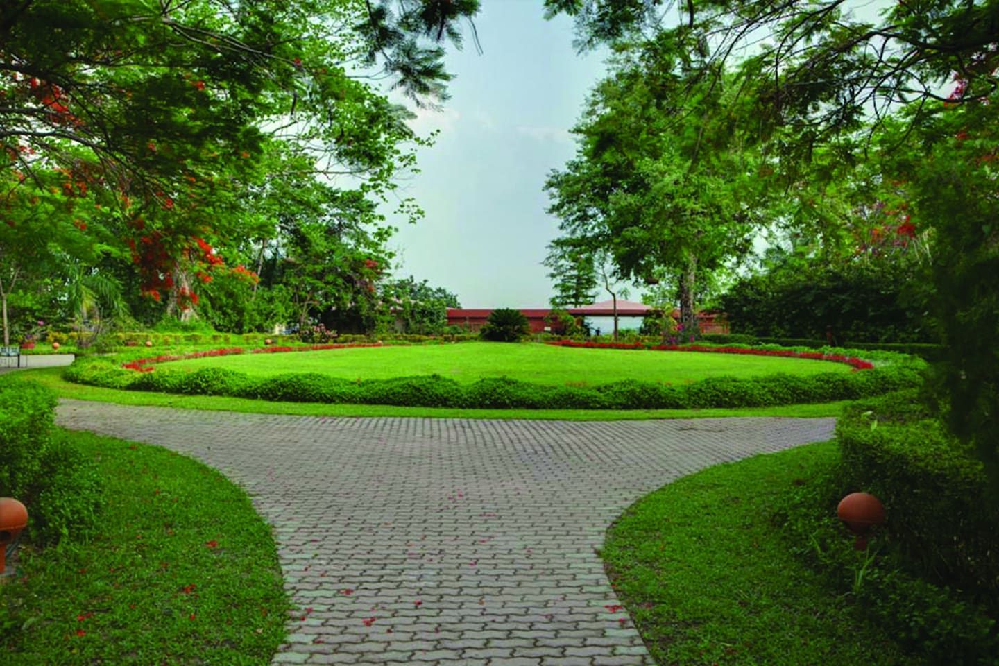 Beautiful and vast green expanse at the entrance