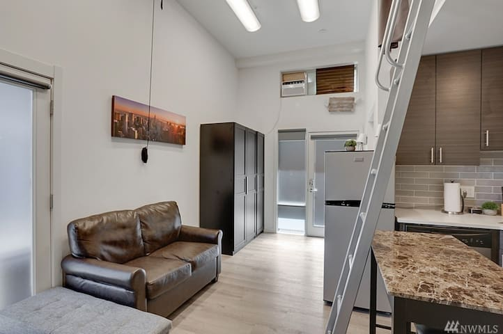 Loft-style Studio near Expedia & Amazon | Sleeps 4