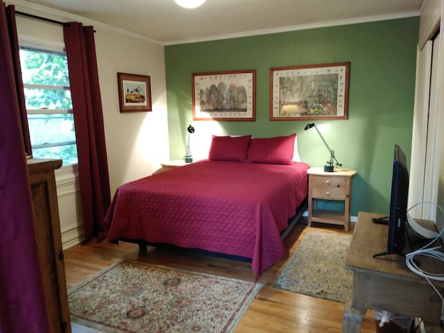 One of the best features: the bedroom: a great bed, all cotton sheets and pillowcases, blackout curtains, quiet, and comfortable with access to outdoors.
