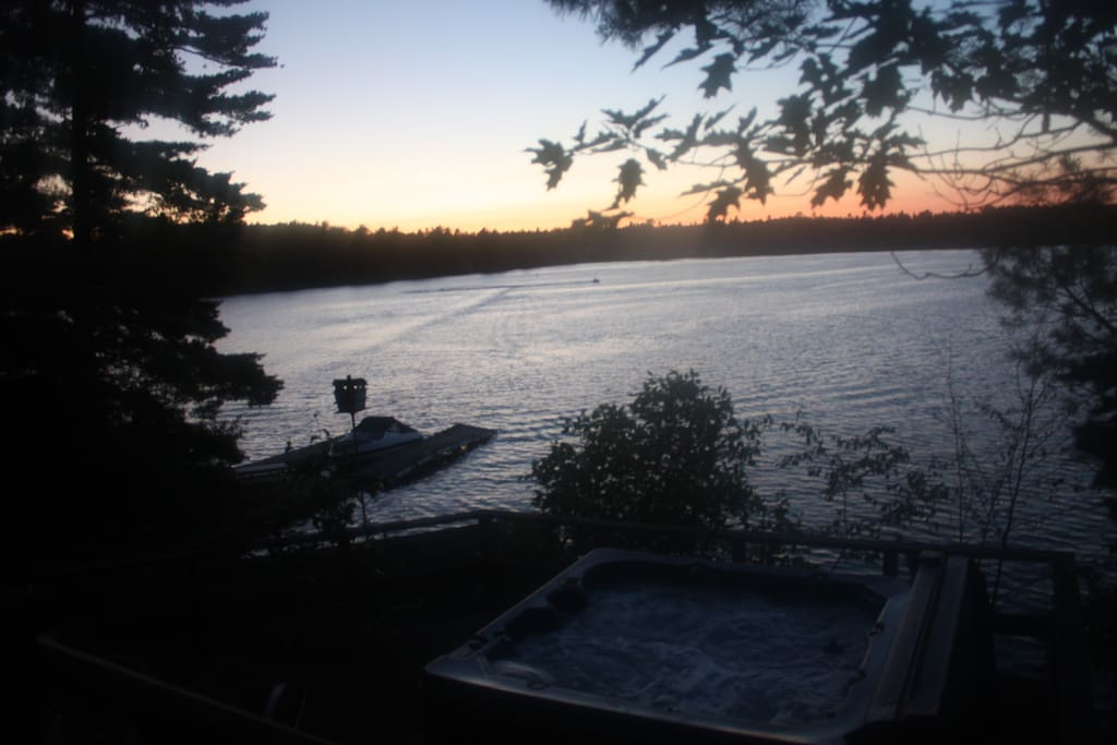 Sun Set from the deck, looking down on the hottub and 2 docks