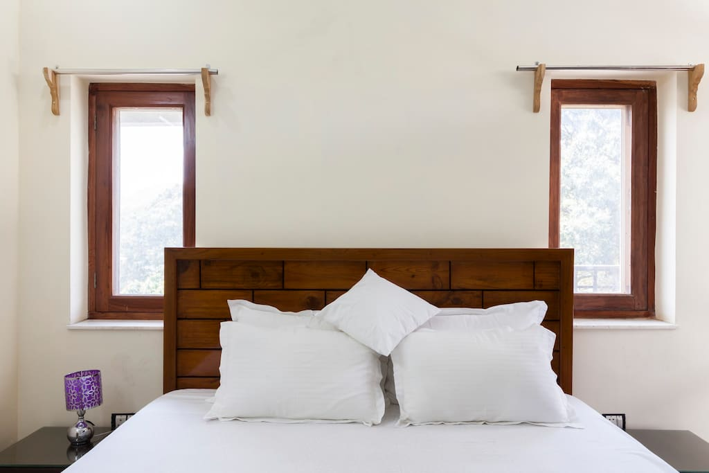 The bedroom is well ventilated and has light throughout the day.