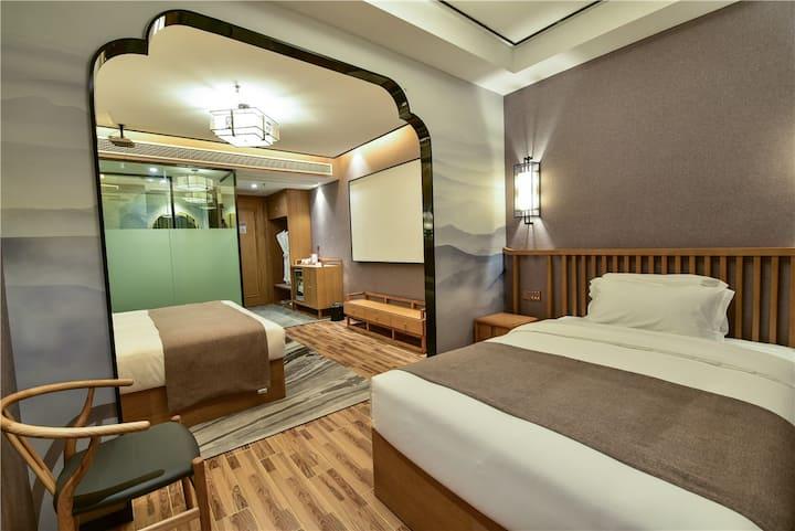 梅林春晓影视亲子双床B|微笑生活酒店|智能酒店|淹城吾悦万达|地铁