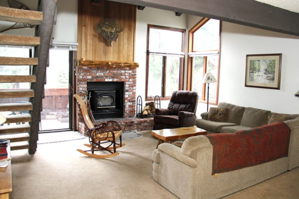 Mammoth Condo Rental Sunrise 51 - Living Room with Woodburning Stove and Flat Screen TV