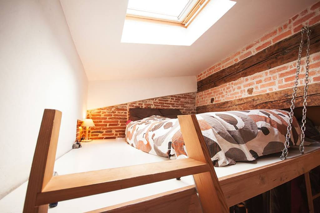 The mezzanine has a double bed