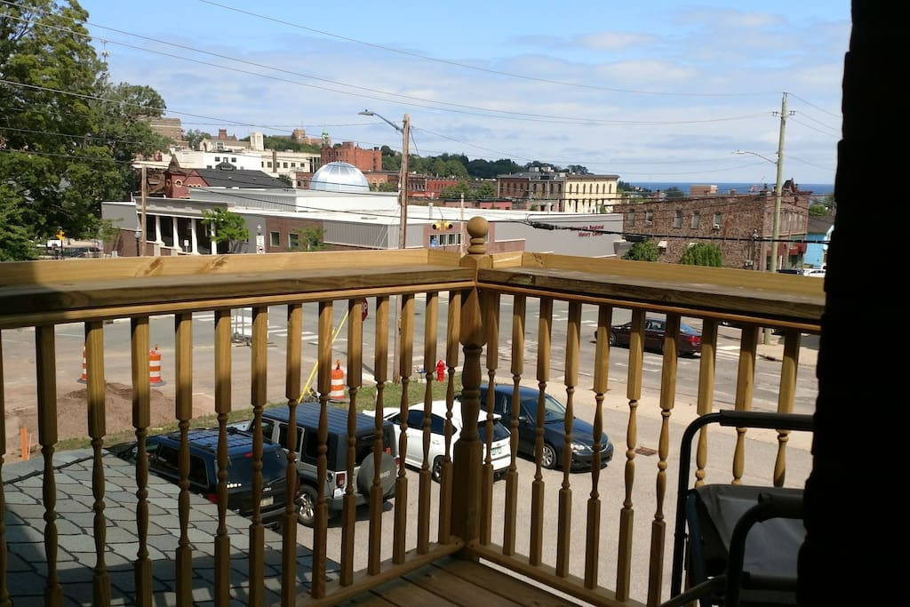 View from the Balcony Towards Downtown Marquette and 1.5 Blocks from Lake Superior