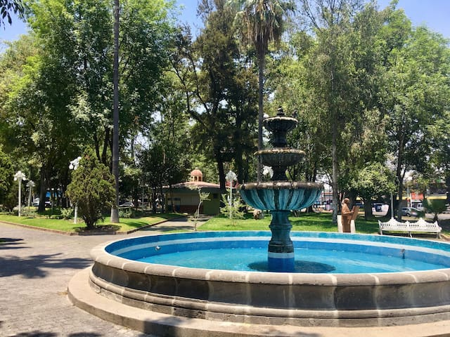 Glorieta Chapalita, a grand park, has an art exhibit and sale every Sunday and  is a short and pretty walk from the house.