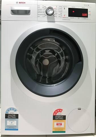 Laundry - Washing Machine, Drying on balcony.