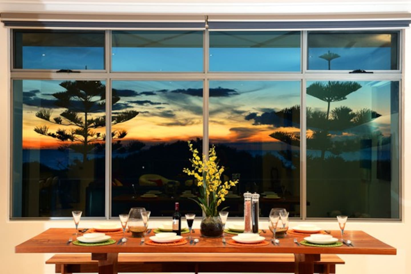 Sunset views from the dining table